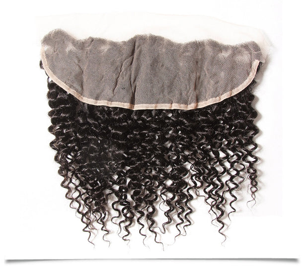 Brazilian Virgin Curly Hair Lace Frontal with 4 Bundles, 100% Human Hair Extensions Wefts - Sunberhair