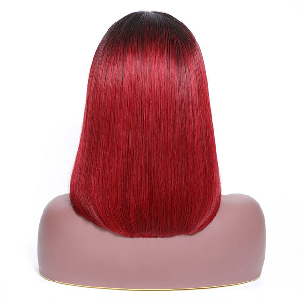 9A Grade Lace Front Wigs Colored Ombre 1B/99J Human Hair Wigs Straight Bob Wig