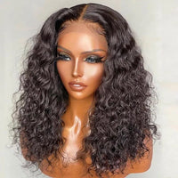 Sunber Thick  Water Wave Short Bob Wigs 4 By 4 Lace Closure Bob Human Hair Wigs