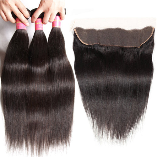 Sunber Hair Peruvian Straight Hair 3 Bundles with 13*4 Frontal Closure, Virgin Human Hair