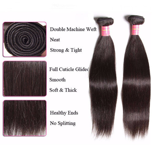 Malaysian Hair Straight Hair 3 Bundles with 13*4 Ear to Ear Lace Frontal - Sunberhair