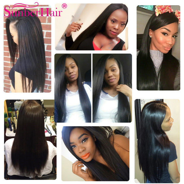 Peruvian Straight Hair 3 Bundles with 13*4 Frontal Closure, Virgin Human Hair - Sunberhair