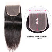 Sunber Hair Straight Virgin Hair Weave 3 Bundles With Transparent 5*5 Closure