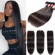 "Sunber Hair Peruvian Straight Hair Bundles 3 Bundles With 4x4 inch Swiss Lace Closure, 8""-30"" in stocks"