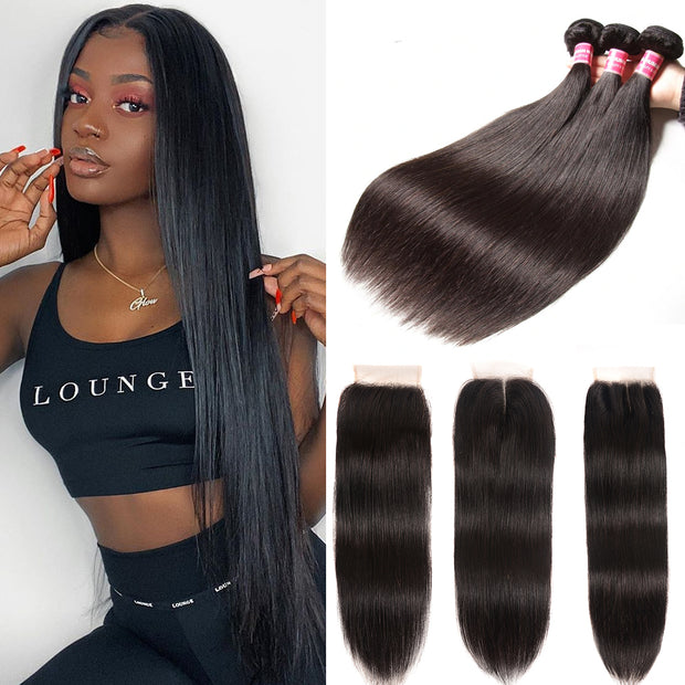 "Sunber Hair Peruvian Straight Hair Bundles 3 Bundles With 4x4inch Swiss Lace Closure, 8""-30"" in stocks"