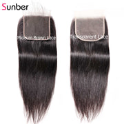 Straight Virgin Hair Weave 3 Bundles With Transparent 5*5 Closure