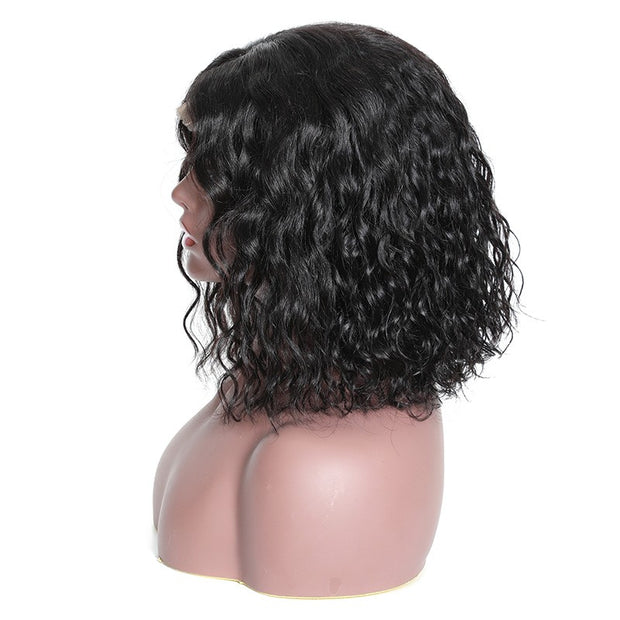 Short Bob Lace Front Human Water Wave Wigs Full and Thick For Black Women