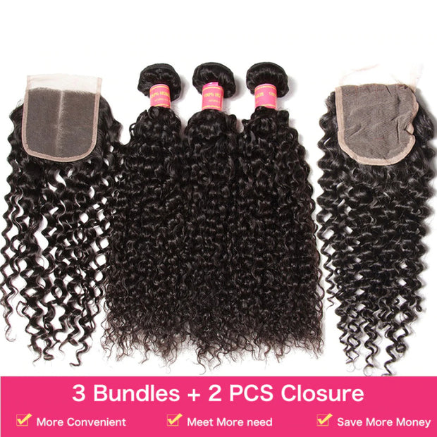 Sunber Hair Brazilian Curly Hair 3 Bundles with 2 Closure Weave Bundles with Closure Vrigin Human Hair
