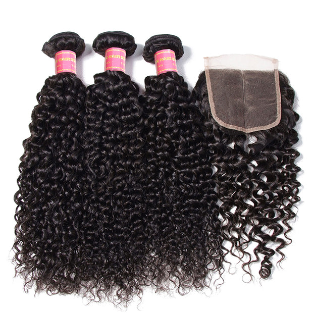 Brazilian Virgin Curly Hair 3 Bundles with 4*4 Lace Closure, 7A Cheap Brazilian Human Hair Weaves - Sunberhair