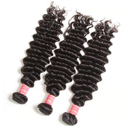 Sunber Hair Brazilian Deep Wave 3 Bundles with 2 Closure Weave Bundles with Closure Vrigin Human Hair