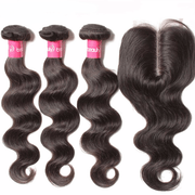 Sunber Hair Peruvian Virgin Hair Body Wave 3 Bundles With 4*4 Free/Middle/3 Part Lace Closure