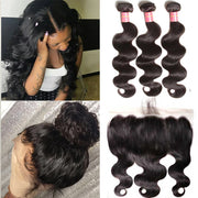 Peruvian Body Wave 3 Bundles with 13*4 Ear to Ear Lace Frontal,  Cheap Bundles of Peruvian Hair