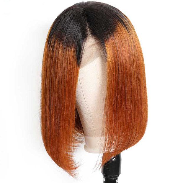 Sunber Hair Ombre Straight Bob Lace Front Human Hair Wigs T1B/30 for Black Women