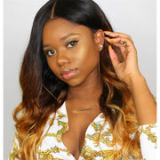 Sunber Hair Ombré Hair T1b/4/27 Color Body Wave Hair 3 Bundles with Lace Closure 100% Human Hair