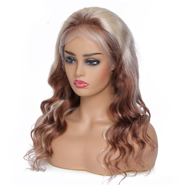 Natural Wave Lace Front Wig 14-24 inch 100% Remy Hair Ombre 613 Blonde Mixed Brown Lace Wig for Black Women