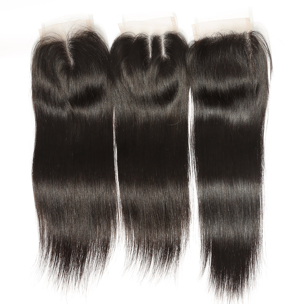 4*4 Lace Closures Straight Hair, Peruvian/Malaysian/Brazilian Hair, Three/Middle/Free Part Closure - Sunberhair