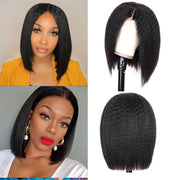 Sunber 9A Kinky Straight 13*4 Lace Front Wigs Short Bob Wig Pre-plucked With Baby Hair
