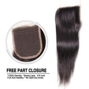 "Peruvian Straight Hair Bundles 3 Bundles With 4x4inch Swiss Lace Closure, 8""-30"" in stocks - Sunberhair"