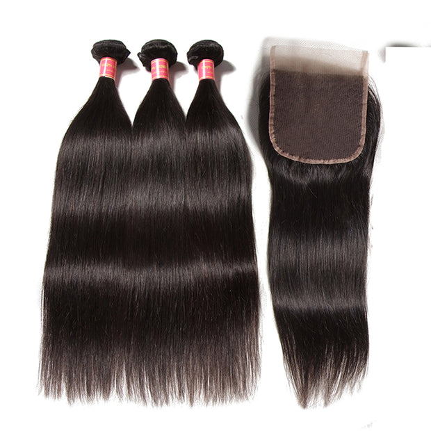 Brazilian Virgin Hair Silky Straight Hair 3 Bundles With 4x4 Lace Closure, 7A Human Hair Weaves - Sunberhair
