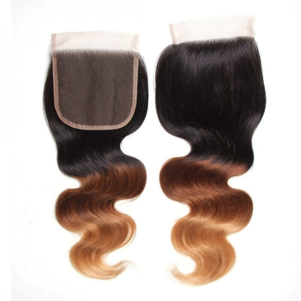 Sunber Ombre T1B/4/27 Human Hair Lace Closure 4*4 Body Wave Closure