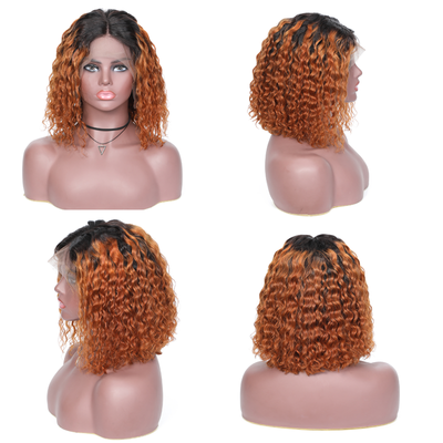 Sunber Ombre Curly Human Hair Wigs T1B 99j /T1b30 Lace Front Bob Wigs With Baby Hair