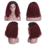 Sunber Ombre Curly Human Hair Wigs T99j /T1b30 Lace Front Bob Wigs With Baby Hair