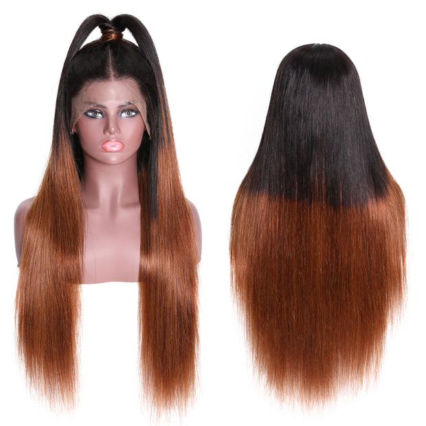 Sunber Omber Hair 9a Grade 13*6  Lace Front  Wigs Omber T1B4 Straight Preplucked  Brazilian Hair Wigs 150% Density