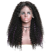 Sunber Hair 13*4 Lace Front Wigs With Highlight Purple Curly Human Hair Wigs 150% Density