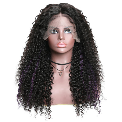 Sunber Hair 13*4 Lace Front Wigs With Highlight Purple Fashion Color Curly Human Hair Wigs 150% Density