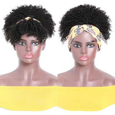 Sunber Kinky Curly Puff Head-Wrap Wigs with Removable Bangs Best Human Hair Glueless Headband Wigs