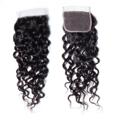 Sunber 1 PC 4*4 Water Wave Free Part Lace Closure 100% Human Hair Swiss Lace Closure Soft