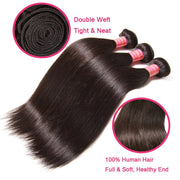 Malaysian Hair Straight Hair 3 Bundles with 360 Lace Frontal, 100% Human Virgin Hair - Sunberhair