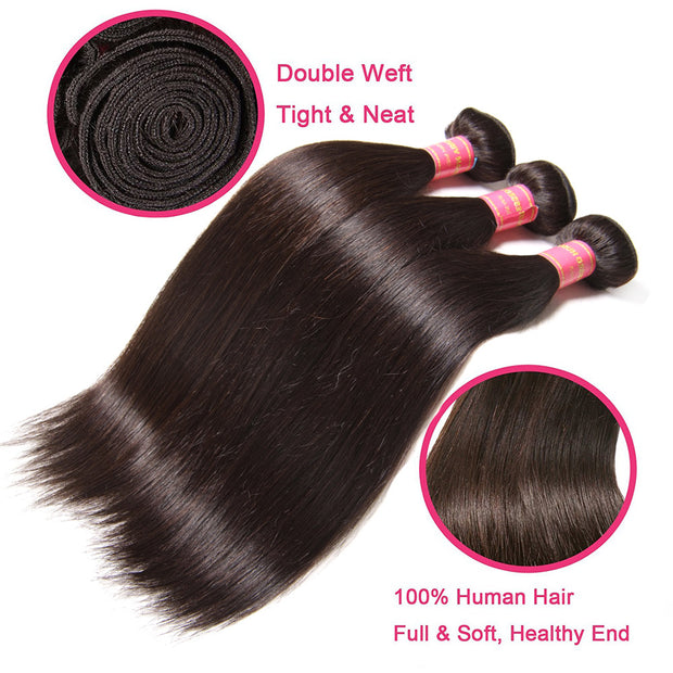 Indian Hair Straight Hair 3 Bundles with 360 Lace Frontal, 100% Human Virgin Hair - Sunberhair