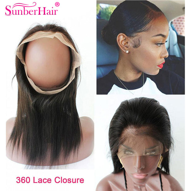 Indian Hair Straight Hair Bundles 3 Bundles with 360 Lace Frontal Closure - Sunberhair