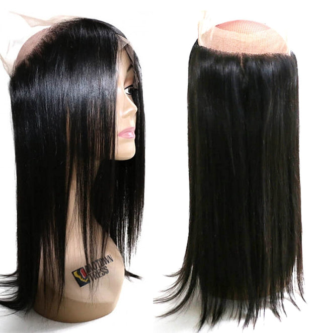 Peruvian Straight Hair Weave 3 Bundles with 360 Lace Frontal, 100% Human Virgin Hair - Sunberhair