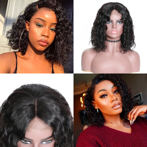Sunber Short Bob Water Wave Human Hair Wig Lace Front Wigs 150% 180% Density Lace Front Human Full and Thick For Black Women