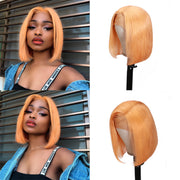 Sunber Hair Short Bob Wig 13*4 Lace Front Fanta Orange/ Peach Yellow Hair Wig Preplucked For Black Women