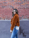RUSTY FAUX TEDDY BOMBER