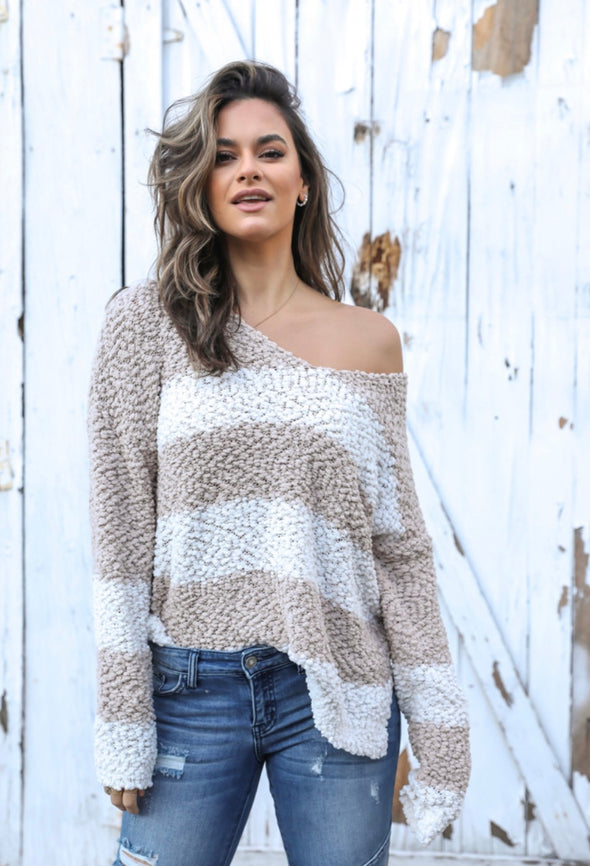 PUCKERED KNIT SWEATER