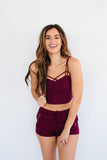 CUFFED DRAWSTRING SHORTS - MERLOT