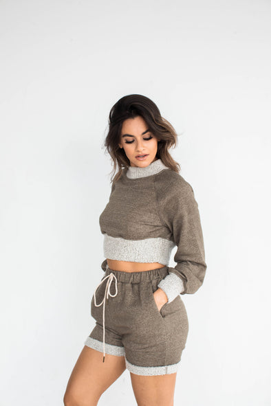 LIV CROPPED LOUNGE CREW SWEATSHIRT