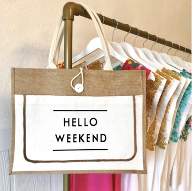 HELLO WEEKEND HESSIAN TOTE - WHITE