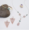 PASSION ROSE QUARTZ TRIANGLE STATEMENT EARRINGS