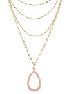 Simply Chic Teardrop Pink Resin Layered Necklace