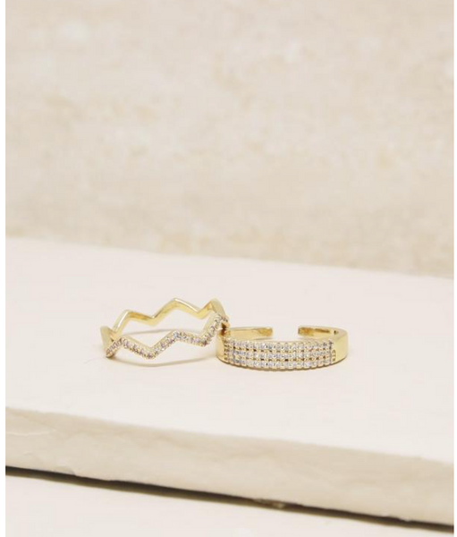 Pave Zig Zag Ring Set of 2 in Gold