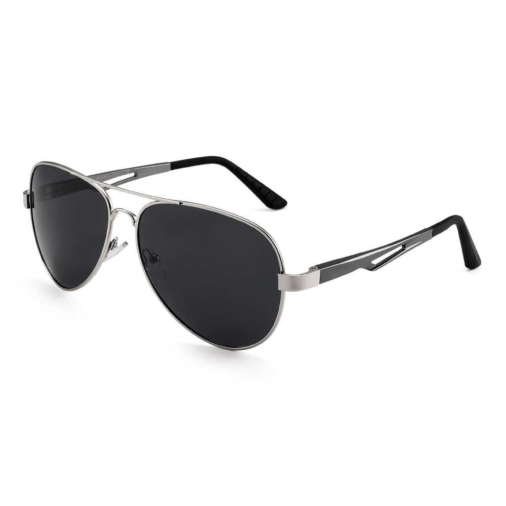 Retro Polarized Aviator Sunglasses Metal Frame With Srping Hinges