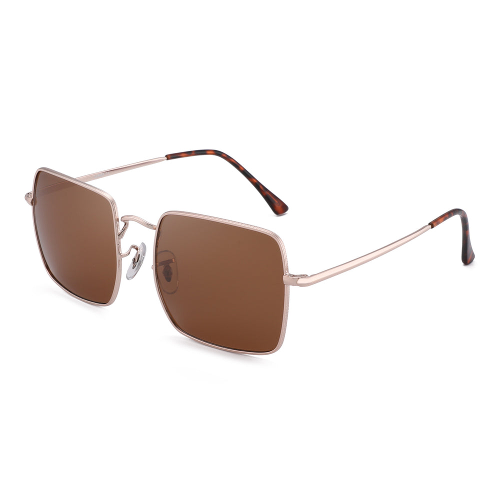 Oversized Square Polarized Sunglasses Metal Frame for Men and Women