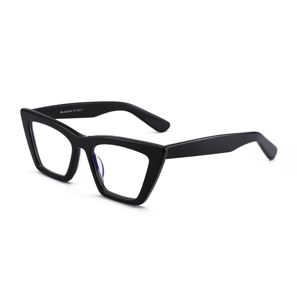 GLINDAR Cat Eye Blue Light Blocking Glasses Vintage Narrow Square