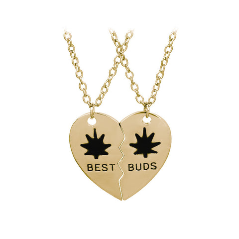 New Best Buds/Friends Weed 420 Leaf Pendant Necklace BFF Friendship  In Gold&Silver color - 420 Weed Mart