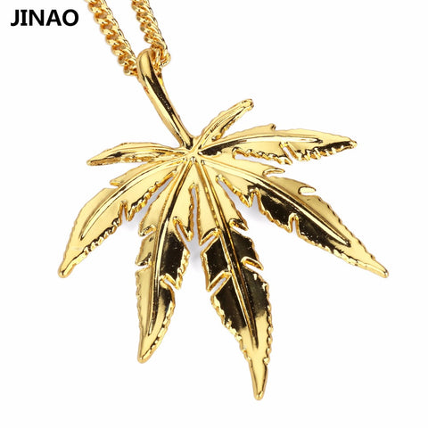 JINAO New Fashion 420 Leaf Pendants&Necklaces Gold Color Plated Hip Hop 420 Pendant Necklace.Gift - 420 Weed Mart